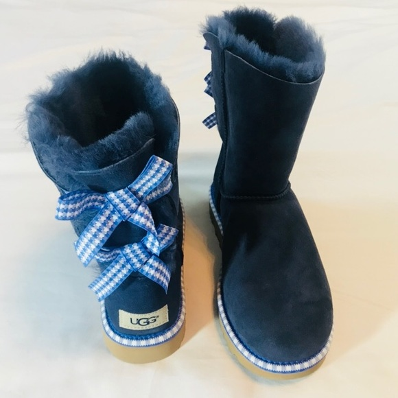 cafc5feed0e UGG BAILEY BOW GINGHAM WOMENS BOOTS SIZE 7 NWT